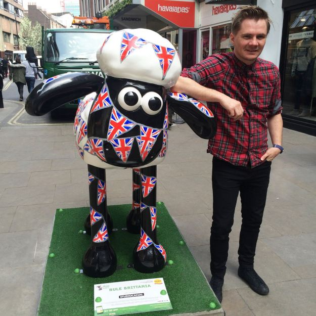 me and my Queens Hat inspired Shaun the Sheep in London
